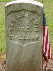 Benjamin Darnell Lewis Civil War Veteran gravestone